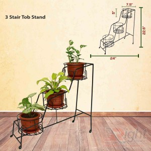 Three Stair Shape Indoor Tob stand With Live Plants