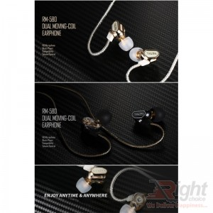 RM-580 DUAL MOVING COLI DYNAMIC DRIVER EARPHONE