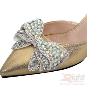 High heels ladies gold color party Shoe