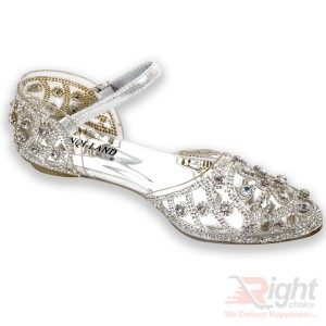 Silver color Flat  Shoe for ladies