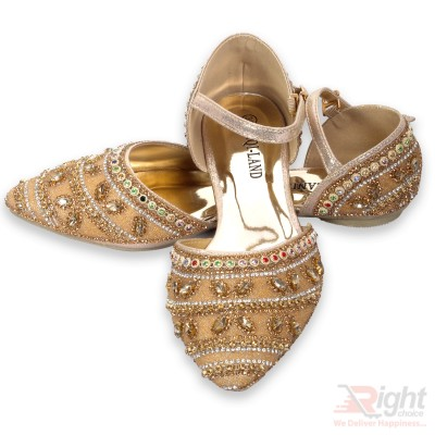 Gold color Flat  Shoe for ladies